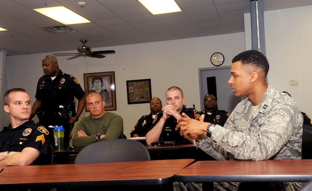 Capt. Kris Walker, Officer Training School chief of training, injects his perspective during a Montgomery Police Department Academy supervisory course March 15, 2016, Montgomery, Alabama. Walker is adding an Air Force outlook to the class as well as gathering material for a leadership consortium that partners OTS and the police academy together as a way to learn from one another. (U.S. Air Force photo by Airman 1st Class Alexa Culbert)