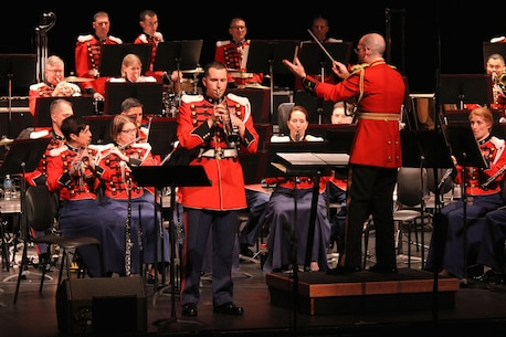 "On March 25, 2016, the Marine Band performed a concert titled ""Postcards"" at the Bowie Center for the Performing Arts in Maryland. The program featured music from France, Italy, England, Scotland, and the United States. (U.S. Marine Corps photo by Master Sgt. Amanda Simmons/released.)"