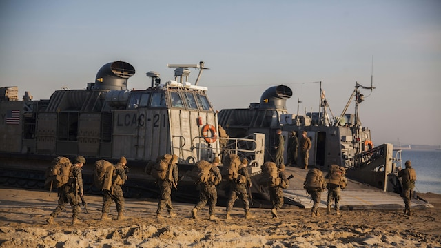 U.S. Marines with 31st Marine Expeditionary Unit embark onto a Landing Craft Air Cushion assigned to Naval Beach Unit 7 during Exercise Ssang Yong 16, Dogu Beach, Pohang, South Korea, March 17, 2016. Ssang Yong 16 is a biennial combined amphibious exercise conducted by U.S. forces with the Republic of Korea Navy and Marine Corps, Australian Army and Royal New Zealand Army forces in order to strengthen interoperability and working relationships across a wide range of military operations. The Marines and sailors of the 31st MEU are currently deployed aboard the Bonhomme Richard Amphibious Ready Group as part of their spring deployment of the Asia-Pacific region.