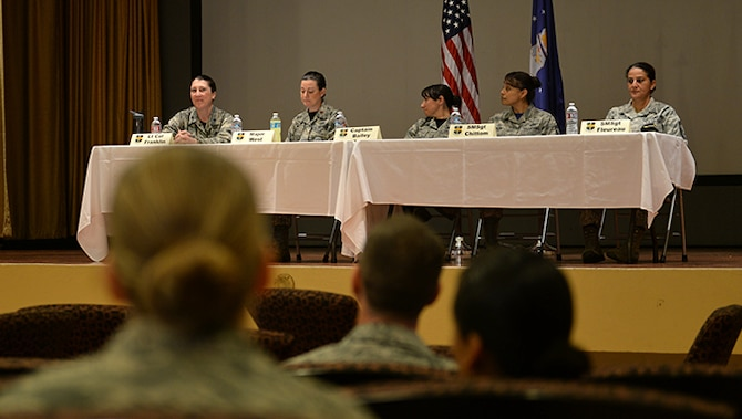 Members of Team Beale sit on a panel as mentors during Beale's Women's History Month Mentorship Panel March 25, 2016, at Beale Air Force Base, California. The event gave attendees the opportunity to ask questions about their diverse experiences, family balancing, mil-to-mil marriage, leadership, personal and professional development and deployments. (U.S. Air Force photo by Senior Airman Ramon A. Adelan)