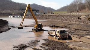 On March 7, 2016, the Corps worked with the West Virginia Department of Natural Resources (DNR) and the U.S. Army National Guard unit in Buckhannon, W.Va., to dredge the Riffle Run Day Use Area Boat Launch Ramp located behind the Burnsville Dam.