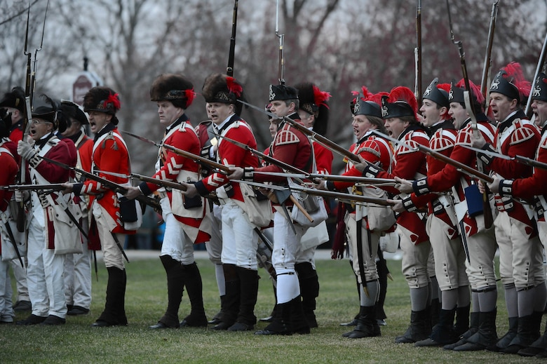 British Regulars reenactors prepare to charge during the Lexington Patriots' Day reenactment on April 20, 2015. Patriots' Day commemorates the opening battle of the American Revolution in 1775. (U.S. Air Force photo by Jerry Saslav)