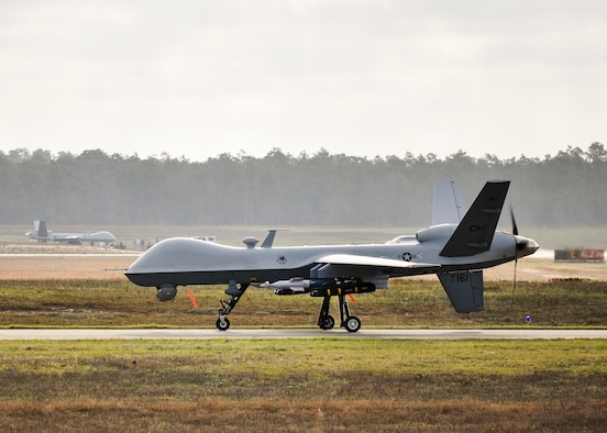 An MQ-9 Reaper prepares to take off from Duke Field, Fla., March 15. The Reapers operated at both Duke Field and Eglin Air Force Base, Fla., during the air-to-ground Weapon System Evaluation Program, Combat Hammer, from March 14-17. (U.S. Air Force photo by Susan Garcia)