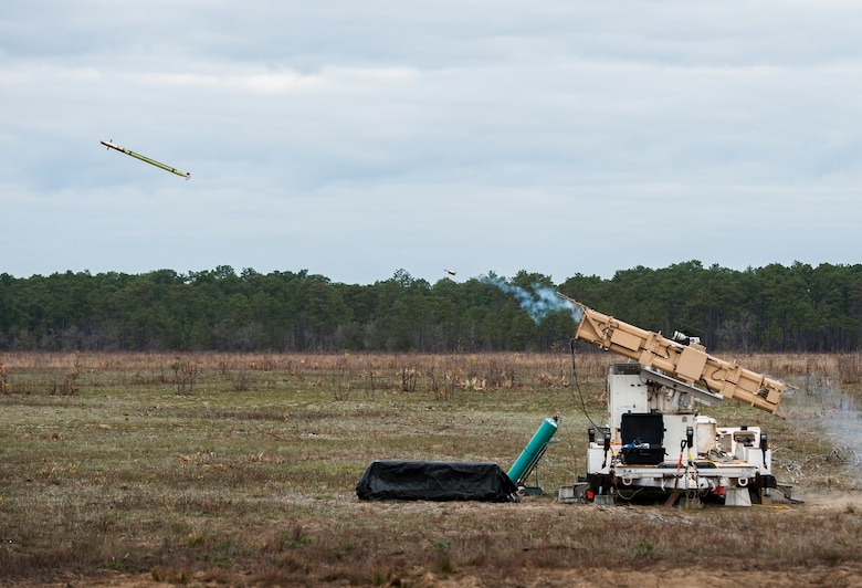 An FIM-92 Stinger missile is fired downrange from the Army's new multi-mission launcher tube at the Eglin Air Force Base range March 23. The 96th Test Wing hosted the Army's Stinger Based Systems and Raytheon to demonstrate the new launch platform's capabilities on Eglin's ranges.  (U.S. Air Force photo/Samuel King Jr.)