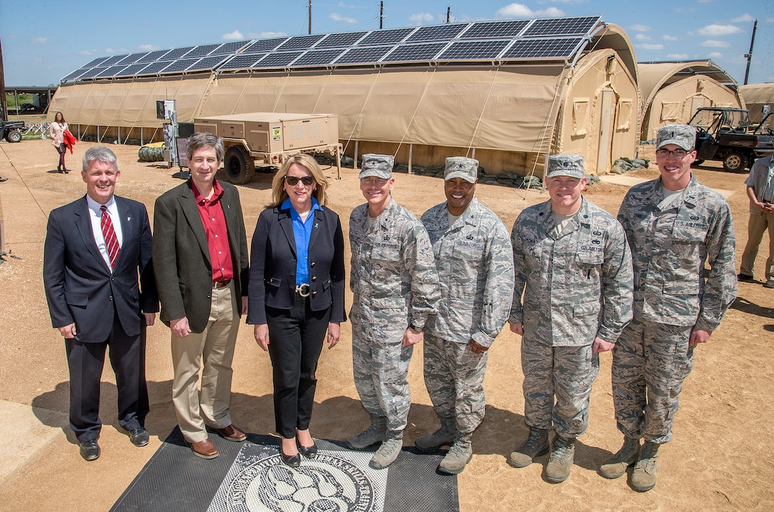 Air Force Secretary Deborah Lee James tours AFRL's FOB of the Future at Joint Base San Antonio's Basic Expeditionary Airmen Skills Training facility on March 22, 2016. Pictured from left to right are:  Thomas Lockhart, Director, Materials and Manufacturing Directorate, AFRL; Mark Correll, Deputy Assistant Secretary of the Air Force for Environment, Safety and Infrastructure; Deborah Lee James, Secretary of the Air Force; Brig. Gen. Robert LaBrutta, Commander, 502nd Air Base Wing and Joint Base San Antonio, Texas; Brig. Gen. Trent Edwards, Commander, 37th Training Wing, Joint Base San Antonio, Texas; Lt. Col. Scott Fitzner, Chief, Acquisition Systems Support Branch, Materials and Manufacturing Directorate, AFRL; 1st Lt.Jason Goins, Project Engineer, Acquisition Systems Support Branch, Materials and Manufacturing Directorate, AFRL. (U.S. Air Force Photo/Staff Sergeant Marissa Garner)