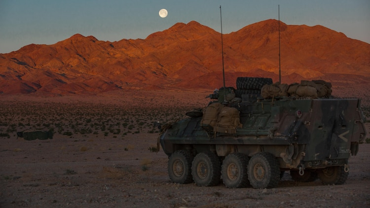 A light armored vehicle with Company B, 3rd Light Armored Reconnaissance Battalion, idles in the Combat Center training area March 22, 2016, during a Marine Corps Combat Readiness Evaluation Exercise. 3rd LAR conducted a five-day MCCREE to evaluate the combat readiness of B Co.