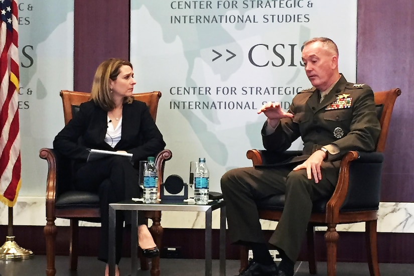 Marine Corps Gen. Joe Dunford, chairman of the Joint Chiefs of Staff, and Kathleen H. Hicks, a scholar for the Center for Strategic and International Studies, discuss Defense Department reform and organization at the center in Washington, D.C., March 29, 2016. DoD photo by James Garamone