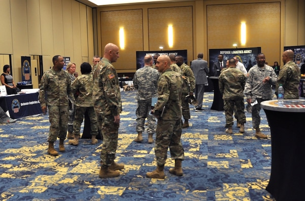 Attendees at the DLA Warfighter Support Initiative gather before a morning breakout session at Fort Bragg, North Carolina, March 23.