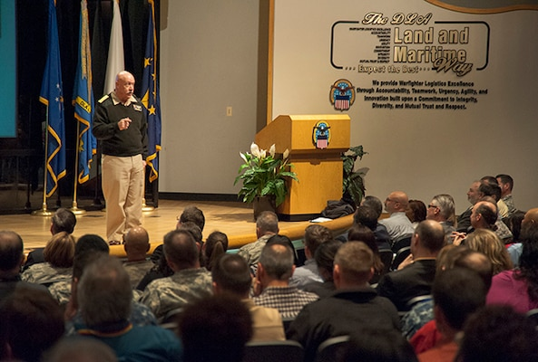 DLA Land and Maritime Commander Navy Rear Adm. John King hosts his final Town Hall in the Building 20 Auditorium on Defense Supply Center Columbus. The March 23 event recognized several associates for outstanding performance in the previous quarter and served as a kickoff for the 2016 DLA Culture Survey.