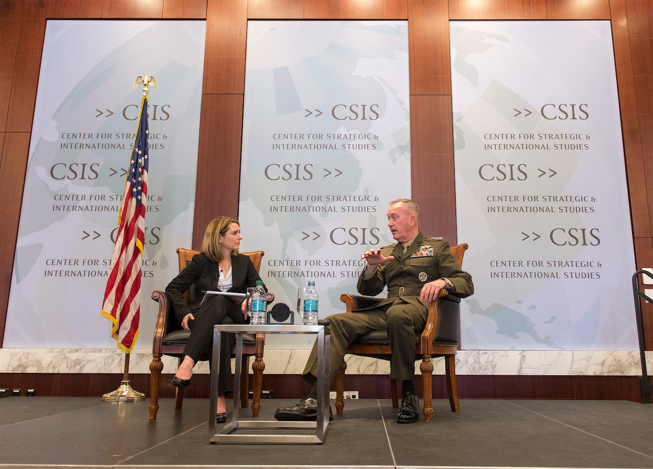 Marine Corps Gen. Joe Dunford, chairman of the Joint Chiefs of Staff, right, discusses military reform and organization with Kathleen Hicks, a Center for Strategic and International Studies scholar, at a CSIS forum in Washington, D.C., March 29, 2016. DoD photo by  Navy Petty Officer 2nd Class Dominique