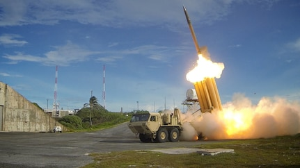 In this file photo, two THAAD interceptors and a Standard-Missile 3 Block IA missile were launched resulting in the intercept of two near-simultaneous medium-range ballistic missile targets during designated Flight Test Operational-01 (FTO-01) on September 10, 2013 in the vicinity of the U.S. Army Kwajalein Atoll/ Reagan Test Site and surrounding areas in the western Pacific. The test demonstrated the ability of the Aegis BMD and THAA