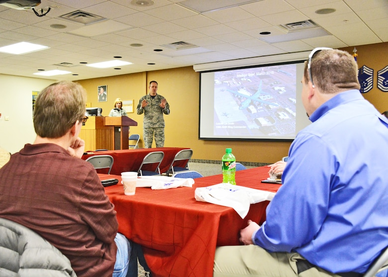 "120th Airlift Wing Commander Col. Lee Smith briefs employers and community leaders during the Employer Support of the Guard and Reserve (ESGR) ""Breakfast with the Boss"" event held on base in Great Falls, Mont. March 5, 2016.   (U.S. Air National Guard photo by Senior Master Sgt. Eric Peterson)"