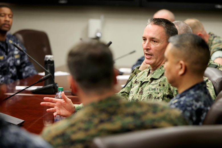 Master Chief Petty Officer of the Navy, Master Chief Michael D. Stevens speaks with senior enlisted leaders during a visit to Marine Corps Air Station Cherry Point, N.C., March 22, 2016. Stevens is on a two weeklong trip visiting Sailors on the East Coast discussing current trending topics, including; rating changes, deployment opportunities and the importance of senior leaders effectively communicating with their subordinates. (U.S. Marine Corps photo by Cpl. Jason Jimenez/Released)