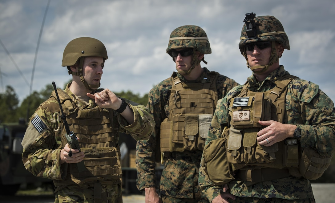 U.S. Marines with 2nd Air Naval Gunfire Liaison Company oversee a joint tactical air control operation with NATO partners at Camp Lejeune, N.C., March 25, 2016. The training enhanced interoperability between the U.S., French, British, and Dutch forces, while the U.S. Marines provided fire and aviation support. (U.S. Marine Corps photo by Lance Cpl. Erick Galera/Released)