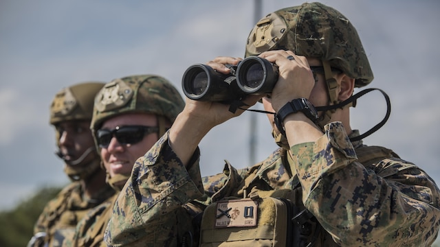 U.S. Marines with 2nd Air Naval Gunfire Liaison Company oversee a joint tactical air control operation at Marine Corps Base Camp Lejeune, North Carolina, March 25, 2016. The training enhanced interoperability between the U.S., French, British, and Dutch forces, while the U.S. Marines provided fire and aviation support.