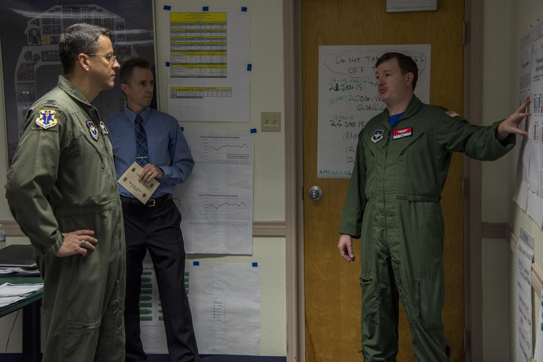 Lt. Col. Keith Eveland (right), 99th Flying Training Squadron assistant director of operations, briefs Col. Michael Snell (left), 12th Flying Training Wing vice commander, and David Bernaki, 12th Operations Support Squadron lead Introduction to Fighter Fundamentals weapons system civilian simulator instructor, March 18 at Joint Base San Antonio-Randolph. The CPI team, which met March 15-18 and March 23, identified 11 possible solutions, or countermeasures, in response to an Air Force Audit Agency analysis of the Aviation Into-plane Reimbursement Card program that revealed problems such as inaccurate and duplicate transactions as well as purchases that exceed an aircraft's fuel capacity.