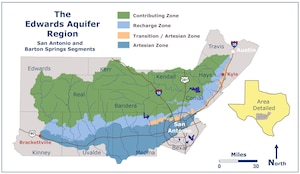 Geographically, the Edwards Aquifer extends through parts of Kinney, Uvalde, Zavala, Medina, Frio, Atascosa, Bexar, Comal, Guadalupe and Hays counties and covers an area approximately 180 miles long and five to 40 miles wide. The total surface area overlying the aquifer is approximately 3,600 square miles. The aquifer is the primary water source for much of south central Texas, including the City of San Antonio and its surrounding communities.