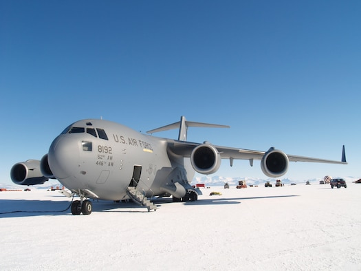 A U.S. Air Force C-17 Globemaster III sits at McMurdo Station, Antarctica, during a previous iteration of Operation DEEP FREEZE, the Department of Defense's support of the U.S. Antarctic Program and the National Science Foundation. This year marked the 60th Anniversary of the operation. (Courtesy photo)