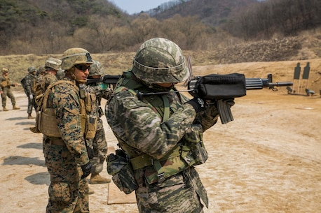 Republic of Korea Marines and U.S. Marines execute  a combat marksmanship range on Camp Rodriguez in South Korea, March 26, 2016. The ROK Marines and the U.S. Marines are training side-by-side for Korean Marine Exchange Program 16-16, an exercise that enhances the relationship between the two nations. The U.S. Marines are with 9th Engineer Support Battalion, 3rd Marine Logistics Group, III Marine Expeditionary Force and is from Edinburg, Texas. The ROK Marines are with 1st ROK Marine Division.