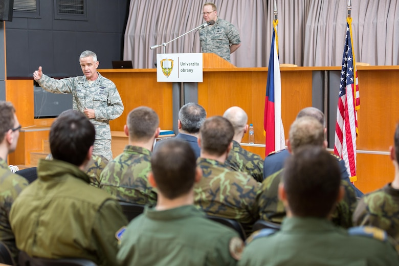 Col. Tod Fingal, U.S. Air Forces in Europe and Air Forces Africa Strategic Deterrence and Nuclear Integration deputy director of operations, speaks to graduates of the Inter-European Air Forces Academy's combined international officer and NCO mobile professional military education course in Brno, Czech Republic, March 4, 2016. Twenty-one students from Czech Republic, Hungary, Lithuania and Romania participated in the course. This was the IEAFA's second two-week course. IEAFA's first five-week in-residence course begins April 25, 2016 at Kapaun Air Station, Germany.  (U.S. Air Force photo/Senior Master Sgt. Travis Robbins)