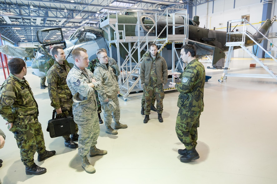 Inter-European Air Forces Academy instructors and students visit a nearby Czech air base and learn about helicopter operations during a combined international officer and NCO mobile professional military education course in Brno, Czech Republic. Twenty-one students from Czech Republic, Hungary, Lithuania and Romania participated in the course. This was the IEAFA's second two-week course. IEAFA's first five-week in-residence course begins April 25, 2016 at Kapaun Air Station, Germany. (U.S. Air Force photo/Senior Master Sgt. Travis Robbins)