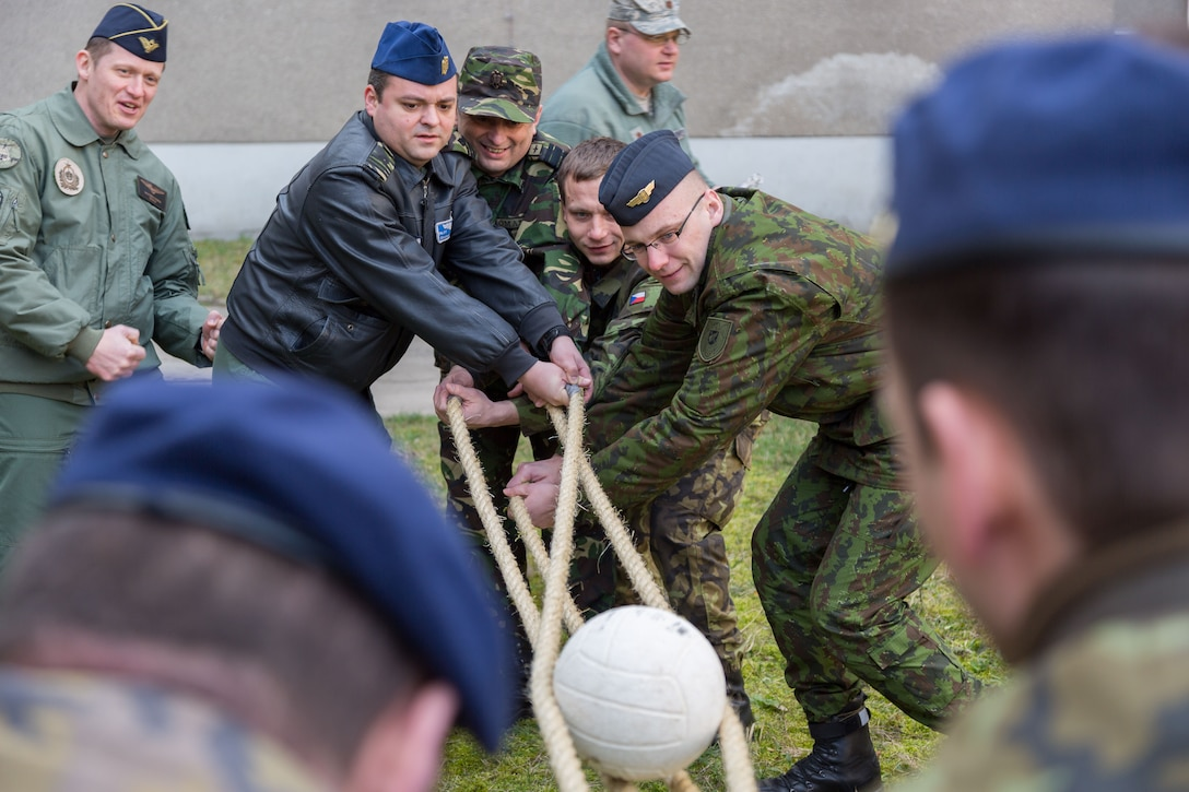 Inter-European Air Forces Academy officer and NCO students participate in a leadership exercise during a combined international officer and NCO mobile professional military education course in Brno, Czech Republic. Twenty-one students from Czech Republic, Hungary, Lithuania and Romania participated in the course. This was the IEAFA's second two-week course. IEAFA's first five-week in-residence course begins April 25, 2016, at Kapaun Air Station, Germany. (U.S. Air Force photo/Senior Master Sgt. Travis Robbins)