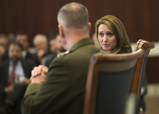 Marine Corps Gen. Joe Dunford, chairman of the Joint Chiefs of Staff, participates in a discussion with scholar Kathleen H. Hicks at the Center for Strategic and International Studies in Washington, D.C., March 29, 2016. DoD photo by Navy Petty Officer 2nd Class Dominique A. Pineiro