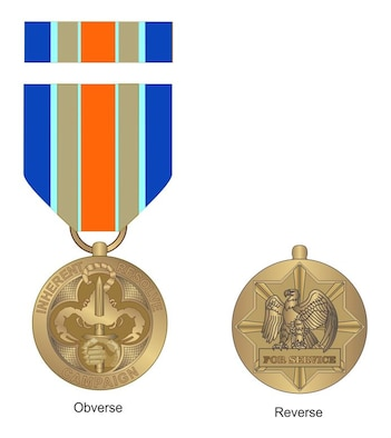 Defense Secretary Ash Carter announced the creation of the Inherent Resolve Campaign Medal March 30, 2016. (Defense Department illustration)