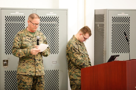 Lt. Cmdr. Mark A. McDowell, command chaplain with the Chemical Biological Incident Response Force (CBIRF), U.S. Marine Corps Forces Command (MARFOROM), leads CBIRF in a prayer during a CBIRF Basic Operations Course graduation ceremony at Naval Support Facility Indian Head, Md., Mar. 11, 2016. The course is a three-week program that provides approximately 145 hours of classroom, practical applications and individual and team testing in chemical, biological, radiological, nuclear, and high-yield explosive disciplines that meet federal requirements. After graduating the course, each Marine and sailor will be qualified to enter a contaminated area, search the area, provide emergency first aid and provide assistance to nonambulatory patients. Regardless of their jobs, or military occupational specialty, every Marine and sailor with CBIRF is required to complete the course, making the unit uniquely qualified to respond with minimal warning to a chemical, biological, radiological, nuclear or high-yield explosive (CBRNE) threat. (Official USMC Photos by Sgt. Jonathan S. Herrera/Released)