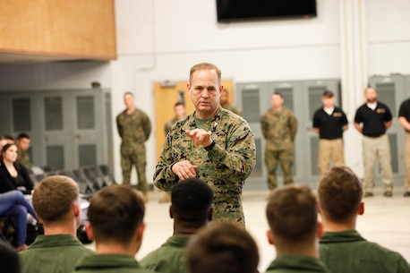 Col. Steve E. Redifer, commanding officer of the Chemical Biological Incident Response Force (CBIRF), U.S. Marine Corps Force Command (MARFORCOM), addresses the students of a CBIRF Basic Operations Course during a graduation ceremony at Naval Support Facility Indian Head, Md., Mar. 11, 2016. The course is a three-week program that provides approximately 145 hours of classroom, practical applications and individual and team testing in chemical, biological, radiological, nuclear, and high-yield explosive (CBRNE) disciplines that meet federal requirements. After graduating the course, each Marine and sailor will be qualified to enter a contaminated area, search the area, provide emergency first aid and provide assistance to nonambulatory patients. Regardless of their jobs, or military occupational specialty, every Marine and sailor with CBIRF is required to complete the course, making the unit uniquely qualified to respond with minimal warning to a CBRNE threat. (Official USMC Photos by Sgt. Jonathan S. Herrera/Released)