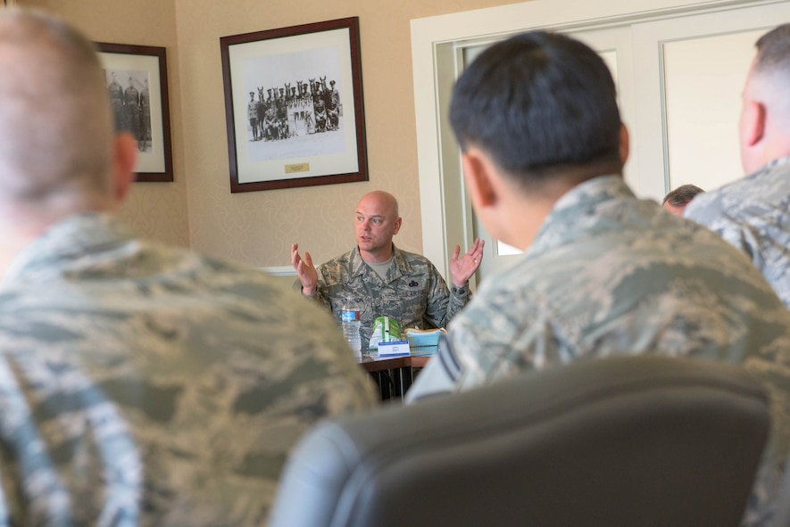 Chief Master Sergeant David Staton, command chief of Air Education and Training Command, visited Airmen at the Defense Language Institute Foreign Language Center as a part of a tour of installations that AETC oversees. (U.S. Army photo by Amber Whittington)