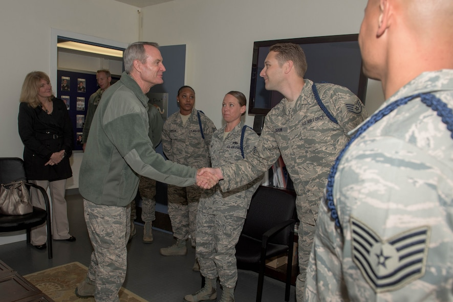 The commander of the Air Education and Training Command, Lt. Gen Darryl Roberson, visit Airmen at the Defense Language Institute Foreign Language Center as a part of a tour of installations that he oversees. (U.S. Army photo by Amber Whittington)