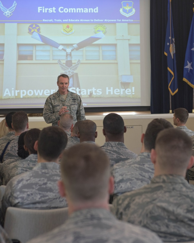 The commander of the Air Education and Training Command, Lt. Gen Darryl Roberson, speaks with Airmen at the Defense Language Institute Foreign Language Center as a part of a tour of installations that he oversees. (U.S. Army photo by Amber Whittington)