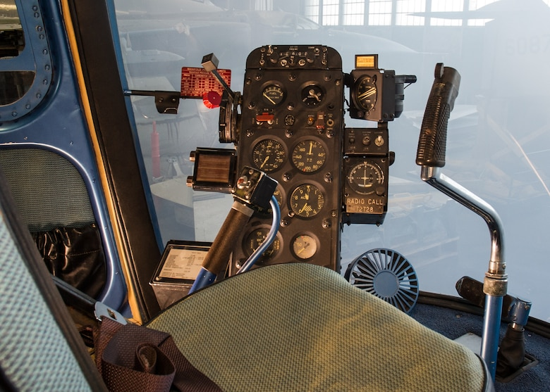 DAYTON, Ohio -- Bell UH-13J Sioux cockpit view in the Presidential Gallery at the National Museum of the United States Air Force. (U.S. Air Force photo by Ken LaRock)