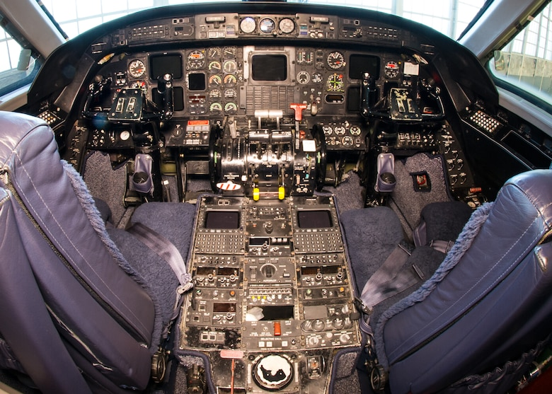 DAYTON, Ohio -- Gulfstream Aerospace C-20B cockpit view in the Presidential Gallery at the National Museum of the United States Air Force. (U.S. Air Force photo by Ken LaRock)