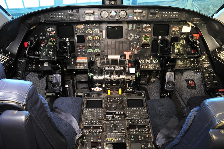 DAYTON, Ohio -- Gulfstream Aerospace C-20B cockpit in the Presidential Gallery at the National Museum of the United States Air Force. (U.S. Air Force photo by Ken LaRock)