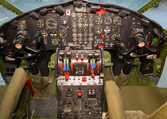 DAYTON, Ohio -- Fairchild C-119J Flying Boxcar cockpit view at the National Museum of the United States Air Force. (U.S. Air Force photo by Ken LaRock)