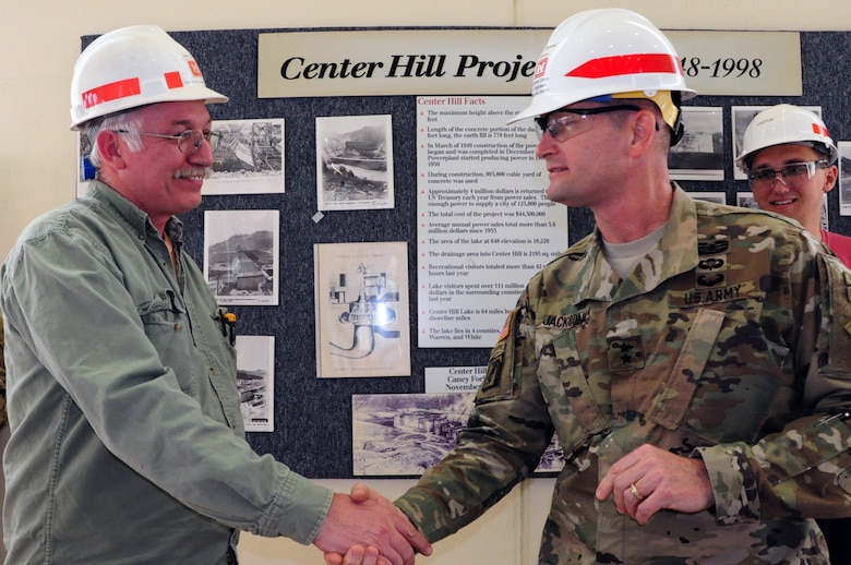 John Keith, electrician at Center Hill Power Plant, receives an award from Maj. Gen. Donald Jackson for his outstanding dedication and work ethic.  The U.S. Army Corps of Engineers deputy commanding general for Civil and Emergency Operations toured the project March 29, 2016.