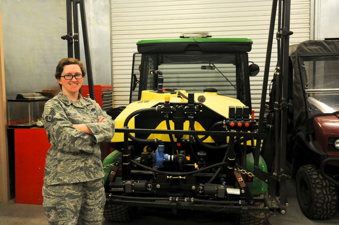 Staff Sgt. Kassandra Mueller, 9th Civil Engineering Squadron pest management craftsman Mar. 28, 2016, at Beale Air Force Base, California. CE utilizes a multitude of equipment to combat environmental hazards. (U.S. Air Force photo by Senior Airman Michael J. Hunsaker)