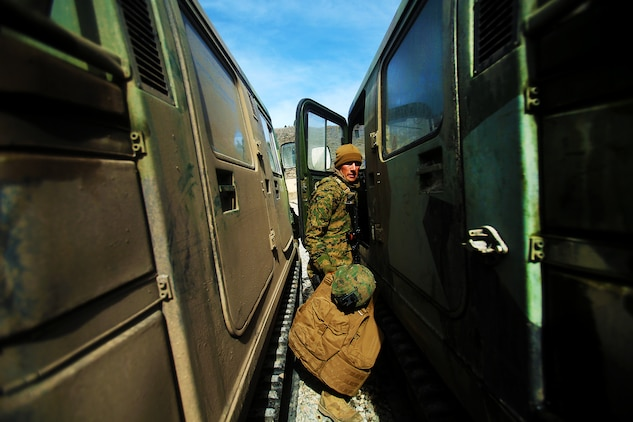 U.S. Marine Cpl. Matthew McGill turns on a small unit support vehicle (SUSV) during a cold weather training exercise at the Mountain Warfare Training Center in Bridgeport, Calif., March 17, 2016. McGill, a heavy equipment operator with Alpha Company, 7th Engineer Support Battalion, 1st Marine Logistics Group, was among 90 Marines with 7th ESB who served as the logistics combat element in support of 2nd Battalion, 4th Marine Regiment, 1st Marine Division, during Mountain Exercise 6-16, Feb. 24- March 26, 2016. (U.S. Marine Corps photo by Sgt. Laura Gauna/released)