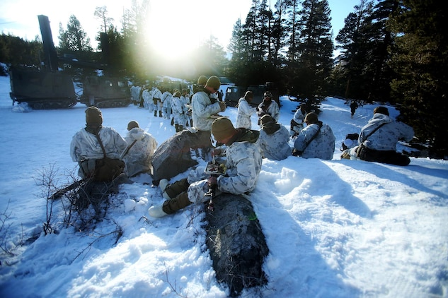 Marines eat warm food during a cold weather training exercise at the Mountain Warfare Training Center in Bridgeport, Calif., March 16, 2016. The Marines, combat engineers with 7th Engineer Support Battalion, 1st Marine Logistics Group, were among 90 Marines with 7th ESB who served as the logistics combat element in support of 2nd Battalion, 4th Marine Regiment, 1st Marine Division, during Mountain Exercise 6-16, Feb. 24- March 26, 2016. The Battalion integrated 18 combat engineers with the infantrymen conducting the exercise. (U.S. Marine Corps photo by Sgt. Laura Gauna/released)