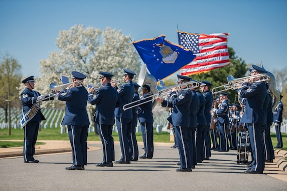 The United States Air Force Band Ceremonial Brass and United States Air Force Honor Guard perform a full honors funeral at Arlington National Cemetery.  (U.S. Air Force Photo by Senior Master Sgt Kevin Burns/released)
