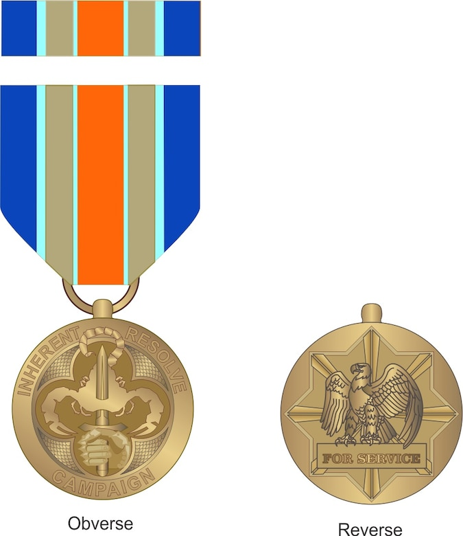 "On March 30, 2016, the President signed an Executive Order titled, ""Establishing the Inherent Resolve Campaign Medal"" based on the recommendations of Secretary of Defense and Chairman of the Joint Chiefs of Staff.  Today, the Secretary of Defense officially announced the Inherent Resolve Campaign Medal (IRCM), which distinctly recognizes our Service members battling terrorist groups in Iraq and Syria.   Approximately 11,000 service members are eligible for the new award as of March 30, 2016  (Courtesy artwork)"