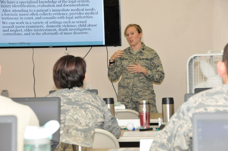 U.S. Air Force Capt. Lindsay G. Chapman from the 181st Intelligence Wing Medical Group, explains how her civilian job as an emergency nurse and sexual assault nurse examiner and how the 181st and Terre Haute Regional Hospital work together on this subject, held at Hulman Field, Terre Haute, Ind., March 18, 2016. (U.S. Air National Guard photo by Senior Master Sgt. John S. Chapman)