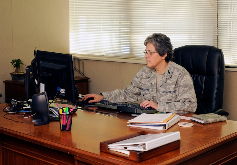 U.S. Air Force Col. Barbara Doncaster, vice commander of the 145th Airlift Wing, reviews the training schedule for the flying mission at the North Carolina Air National Guard Base, Charlotte Douglas International Airport, March 16, 2016. Doncaster is the first female to hold this position in the history of the NCANG. (U.S. Air National Guard photo by Master Sgt. Patricia F. Moran/Released)