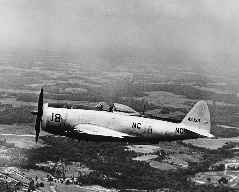 1948-1949 Time Frame; P-47D in Flight (Photo by NCANG Heritage Program)