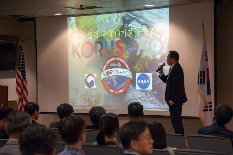 You-Deog Hong, Air Quality Research Division director, Climates and Air Quality Research Department, gives an overview of Korea United States-Air Quality (KORUS-AQ) Experiment during a media day at Osan Air Base, Republic of Korea, April 29, 2016. KORUS-AQ is a step toward an international effort to develop a global air quality observation system that will include satellites from both countries and a network of surface monitoring sites, models, and airborne sampling. (U.S. Air Force photo by Staff Sgt. Jonathan Steffen/Released)