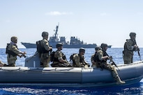 Sailors assigned to the visit, board, search, and seizure team for the guided-missile destroyer USS Gonzalez operate a rigid-hull inflatable boat in the Gulf of Aden, April 26, 2016. The guided-missile destroyer is supporting Operation Inherent Resolve, maritime security operations and theater security cooperation efforts in the U.S. 5th Fleet area of operations. Navy photo by Petty Officer 3rd Class Pasquale Sena