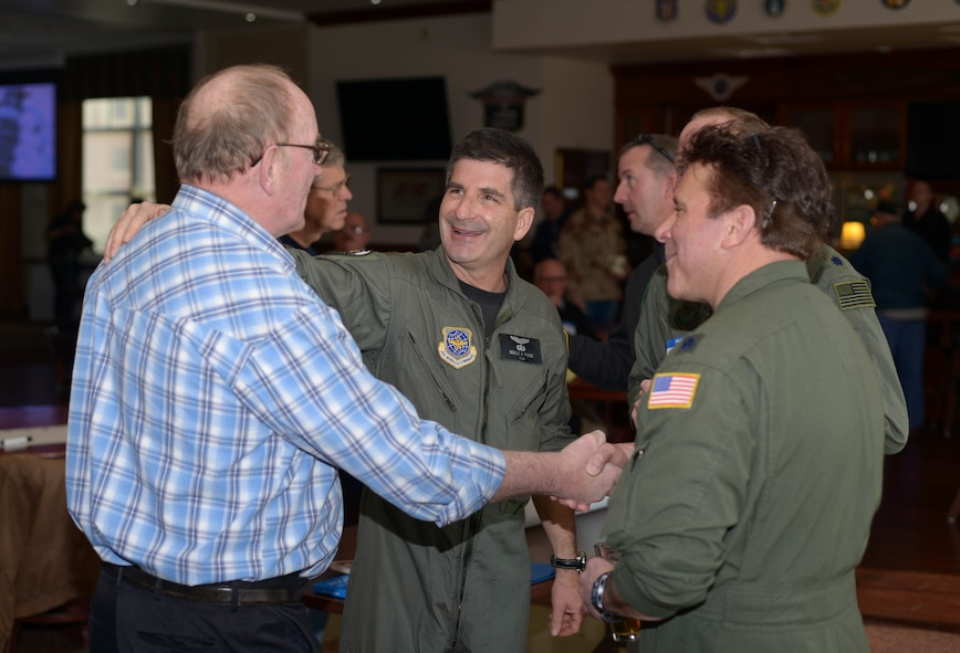 Current and former members of the 914th Airlift Wing reunited, April 9, 2016, at Niagara Falls Air Reserve Station, N.Y. for the Desert Storm 25th Anniversary reunion. (U.S. Air Force photo by Staff Sgt. Richard D. Mekkri)