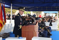 Army Gen. Curtis M. Scaparrotti, outgoing commander of United Nations Command, Combined Forces Command and U.S. Forces Korea, addresses soldiers, civilians and family members during a change-of-command ceremony at Yongsan Garrison, South Korea, April 30, 2016. Army photo by Sgt. Russell Youmans